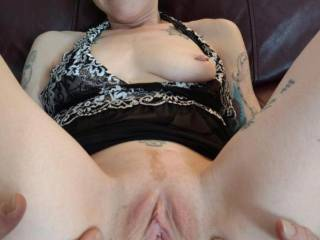 Wife showing off her amazing pussy