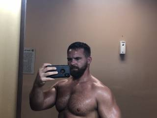 Selfie after taking a shower at the gym.