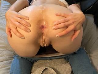 Spreading my ass.