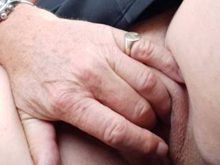Some pleasant respite and some fingering of Sally\'s pussy with her tits out as we drive.