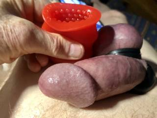 Cock ring is on and I\'m going to masturbate with a cock sleeve, there is a video if you would like to watch. I\'m doing this on request for a friend and I am going to look at her photo as I masturbate.