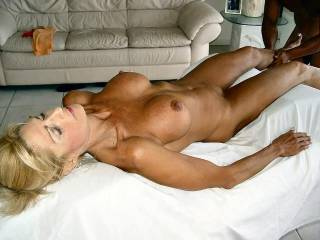 We would love to make her cum on that table too.  We have very good oral skills.  G and K