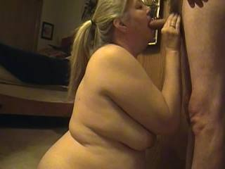 Sloppy Blowjob. Sexy wife gets a mouth full. Watch it cum out at the end.