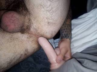 My girlfriend wants to try pegging me so I have been using a toy on myself every night to make sure I impress her with how much I can take. She takes my dick up her tiny little asshole with ease so i want to make it easy for her