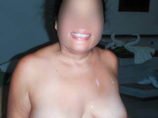 Sucked hubby's cock and thought I'd swallowed it all, my titties show I was wrong.