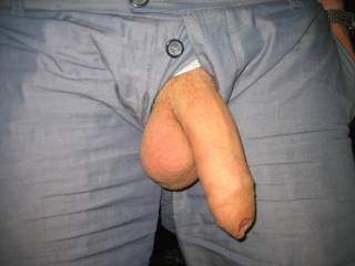 dam.. i love pics like this.. awesome cock.. hanging out trousers.. what a turn on