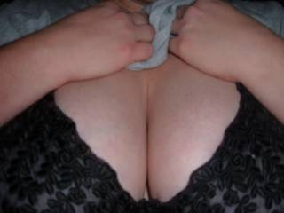 My big beautiful breasts in a lacy black bra