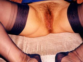 Best pic ever.!!! Incredible sexy seamed black stockings and perfect hairy pussy.