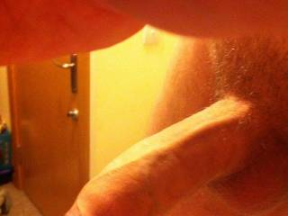 A side-on dick pic back when I trimmed my pubic hair.
