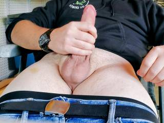 just having a jerk and cum by myself. Wish I had someone to get this big load out of my cock.