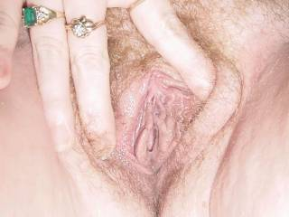 Wife\'s pussy...spread wide and begging for attention.