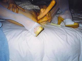 Once my man taught me the pleasures of anal by teasing my virgin hole with his tongue, fingers till as you see here my dildos. So now whenever I\'m riding cock I want his up my ass. Are you OK feeling my man\'s cock fucking my asshole as I ride you?