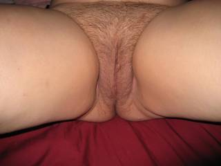 Wife legs open showing her mature hairy cunt