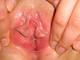 """Pussy lips spread wide to show cunt hole ready for cock... """"Fuck my hot wet cunt, shoot spunk all over my shaved pussy lips and I\'ll make my husband lick up your cum!"""" ;-)"""