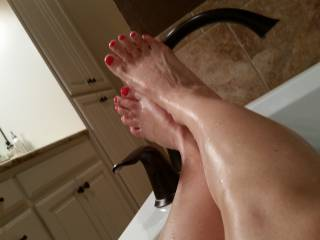 Wife's sexy legs and feet!