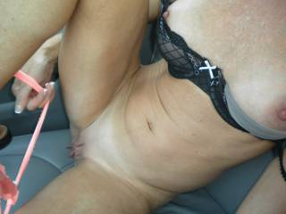 Another fun afternoon driving to the mall.  Love teasing my man in public!