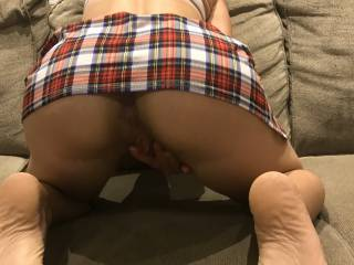 Put on the school girl outfit and gave my husband a show. If your a BBC bull drop us a line ;)