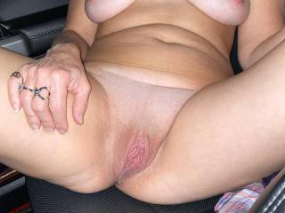 Just me riding in a truck naked. Love riding naked and being sexy. Would you pullover and have me suck your dick and fuck you?