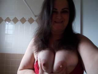 Beautiful smile, beautiful breasts..