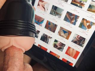 Stroking my cock as I look at bettsi1970\'s photos to pick out one to cum with.