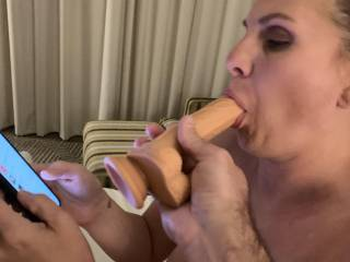 Texting and sucking cock