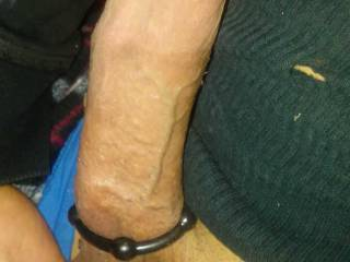 My hubby\'s dick with a cock ring around it