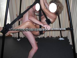 Great pic.  looks like it was a ton of fun at that swingers party.  i wish i had got a turn to fuck you on that swing...