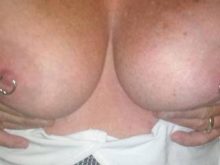 Love your beautiful tits and nipple rings...looks like fun!!