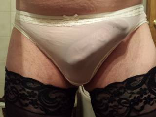 Love the panties and seeing your cock in them.