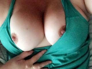 Love being a naughty little slut and sending my husband pictures of my hard nipples during the day!