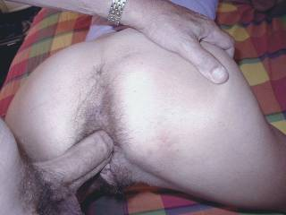 I LOVE how hairy her ass is, and your strong cock just penetrates her hole.  Dominating it! Would love to see more!