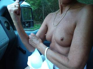 My 65 yoa FWB flashing her tits in my truck after our hike at the Carl Sandburg house in Flat Rock, NC