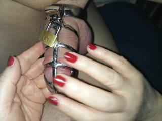 Love to tease his cock when caged so it is ready to burst