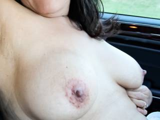 Went out for drive to do a public/outdoors photo shoot with my car.  Wasn't planning on fully removing my clothes, but the idea of driving topless got me horny and here we are.