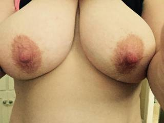 Stroking my cock right now looking at your nice big tits.