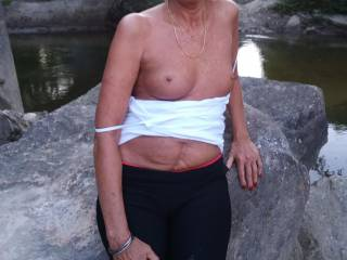 My 65 yoa FWB flashing her tits while we were out walking