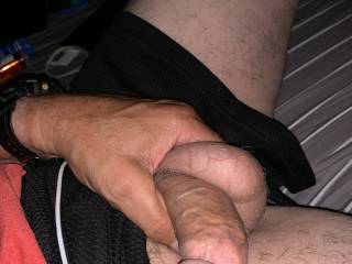 My Balls were hanging as low as my soft cock was so grabbing both with one hand seemed appropriate so I did it!!