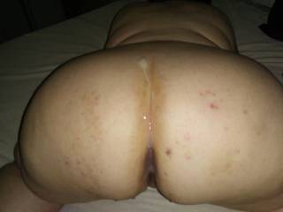 Fucking my girlfriend doggy and shot my load on her sexy ass, who else wants to add a load?