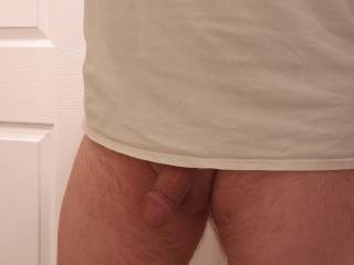 Turned around. After work, no pants!