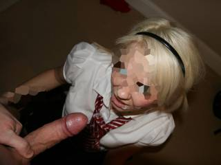 exploding my thick load all over the slutty schoolgirl. anyone else want to add some more to her face?
