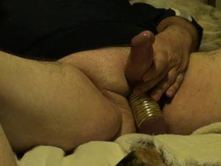 Me playing with toys and getting 11 Metal Rings onto and off my balls. Vibrating Wand made me cum quick. Wanted to fuck my Fleshlight with my ringed balls but just to big. Want to try on GF, any idea\'s on who or what I could fuck with my ringed balls??