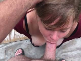 This little slut loves to gag on my cock!! She's so fucking sexy deep throating my cock while I make her gag!!