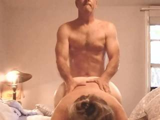 After sitting on my face, the pungent smell and taste of my wife\'s cunt  on my face and in my mouth makes me come hard.  I scream like a little bitch.