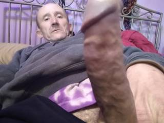 Getting ready to tug and stroke my hard throbbing cock