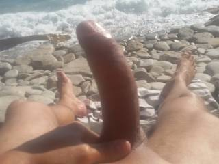 Wish I was walking by. It would be so exciting to see your big cock.