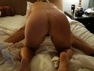 Dude came on my wifes ass, in her Vegas gangbang with 5 guys
