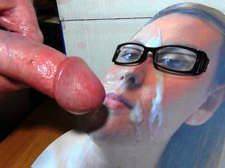 Jerking off to Adelle\'s cum face while wearing my GF\'s Glasses! Should I cum on them for her?