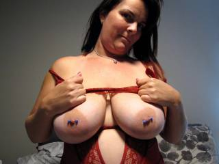hope you love my sexy pierced boobs pull your cock out