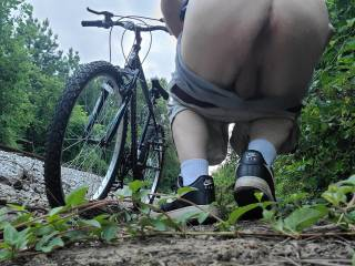 Took a bike ride along a popular walking/biking path. Ducked behind some bushes by the railroad tracks to bare my ass