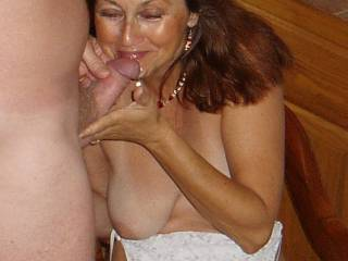 Cum loving wife Candi Annie happy to receive another load of her favorite man\'s juice!